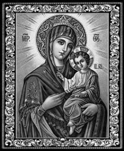 Гравировка иконы Иверской Божьей Матери для памятника ИК-25