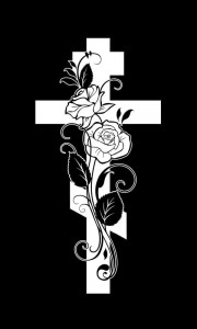 Гравировка креста с розами на памятник КРН 19
