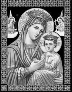 Гравировка иконы Пресвятой Богородицы Страстной на памятнике ИК-12