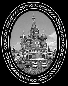 Гравировка большого храма с куполами Ц8