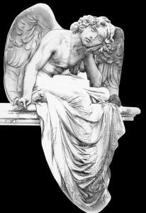 Гравировка сидящего ангела для памятника РС11