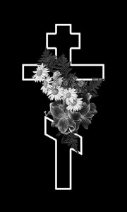 Гравировка креста с цветами КРН21