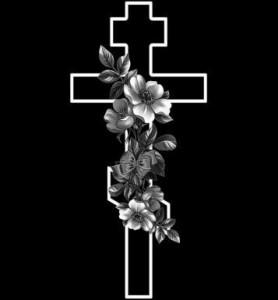 Гравировка креста и цветов для памятника КРН23