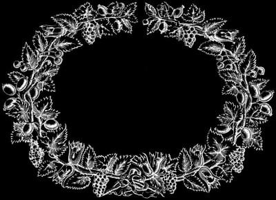 Гравировка виньетки с листьями ВН20