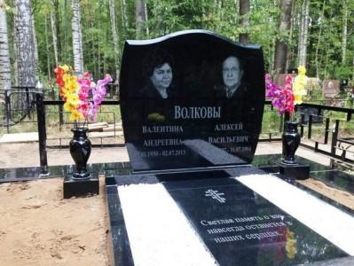 Памятники надгробия из черного гранита двойные для семьи