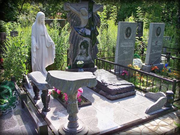 Гранитные памятники со скульптурой Божией Матери фото