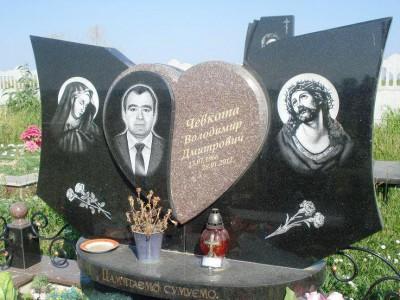 Резной горизонтальный памятник на могилу мужчине