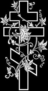 Гравировка креста с цветами КР11