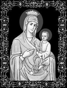 Вариант гравировки иконы Божьей Матери на памятник ИК-33