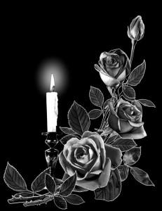 Гравировка свечи с розами СВН16