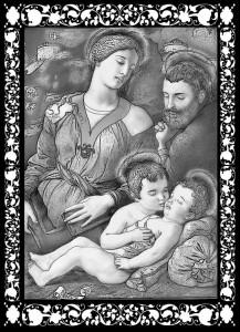 Гравировка Святое Семейство с младенцем РС-22