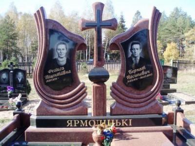 Двойной эксклюзивный памятник из красного гранита