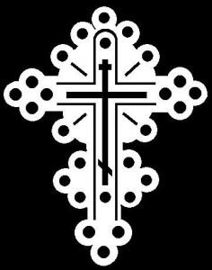 Гравировка крестика на белом фоне КР12