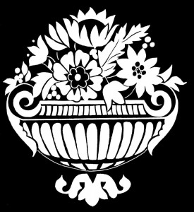 Гравировка вазона с цветами ЦВ36