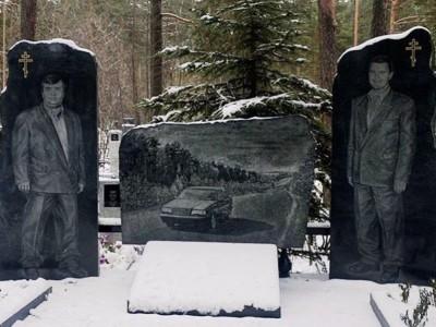 Двойной гранитный памятник для водителей