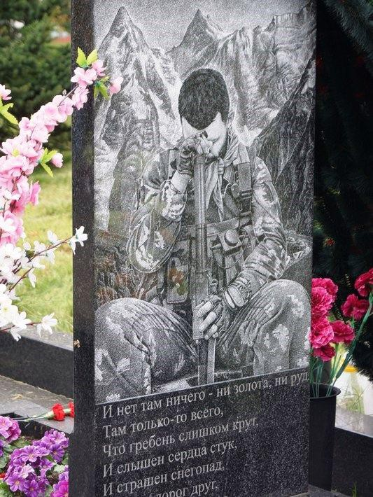Обратная сторона памятника на могилу военного