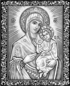 Гравировка иконы Иверской Божьей Матери для памятника ИК-2