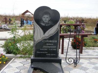 Гранитный детский памятник черного цвета