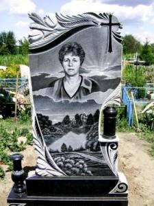 Вертикальный женский памятник с гравировкой